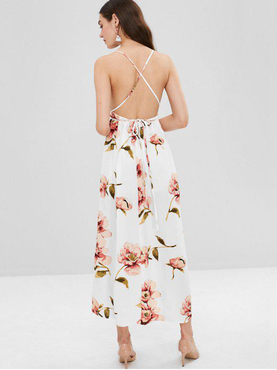 فستان طويل مزين بالزهور - أبيض L