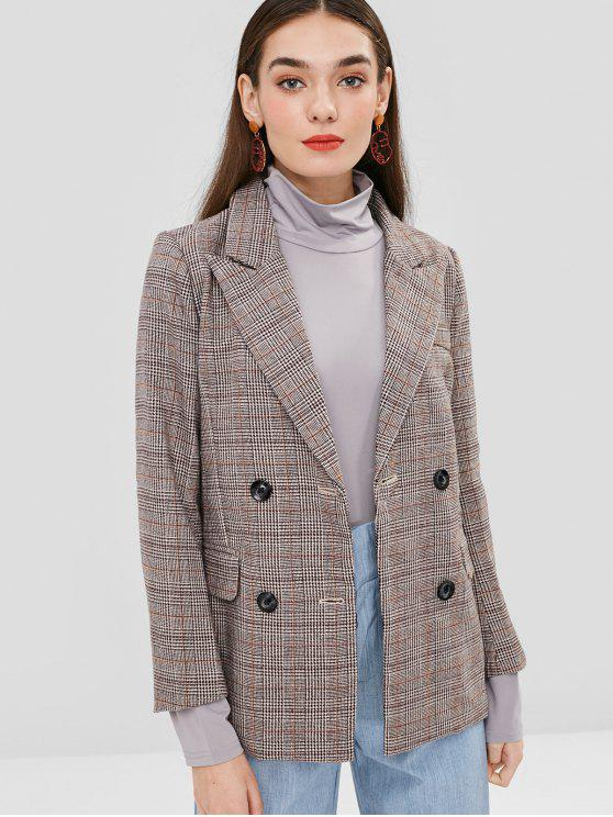 women's Double Breasted Plaid Wool Blend Blazer - COFFEE XL