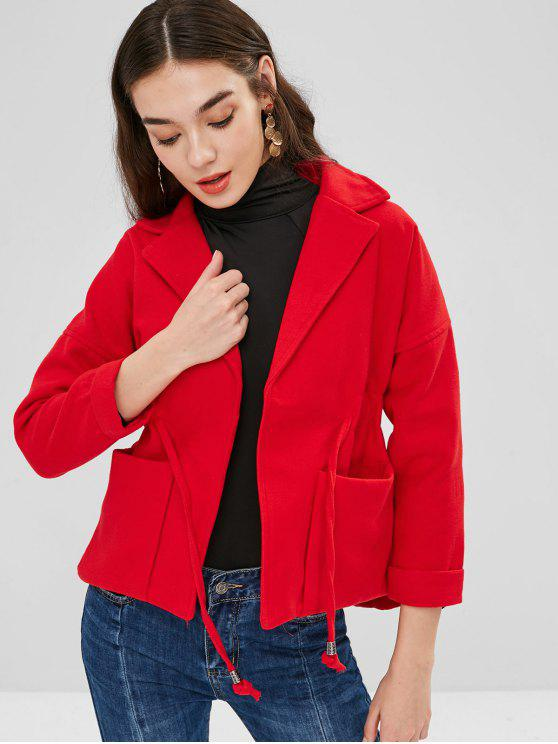 best Lapel Patch Pockets Faux Wool Coat - RED S