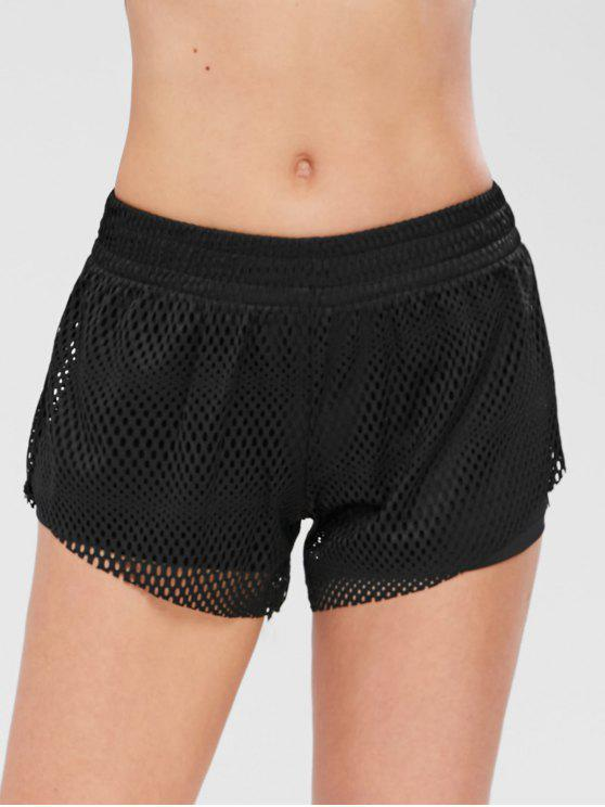 new Hollow Out Overlay Gym Shorts - BLACK M