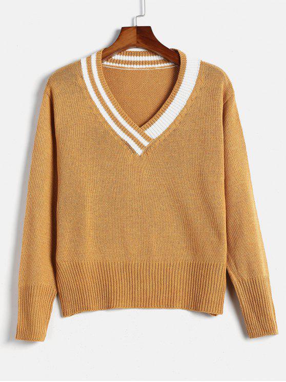 sale Striped Preppy Sweater - MUSTARD ONE SIZE