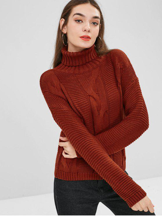 buy Cable Knit Drop Shoulder Turtleneck Sweater - CHESTNUT RED ONE SIZE