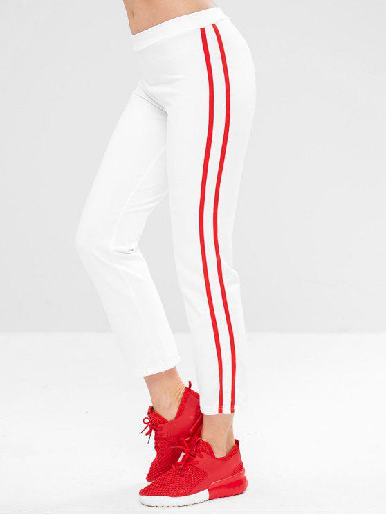 women Contrast Stretchy Sports Pants - WHITE S