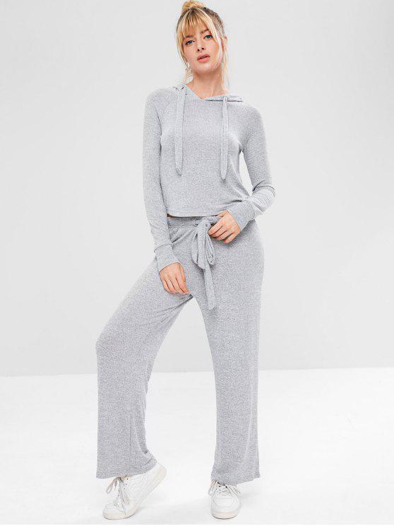 fashion Marled Sports Hoodie and Pants Set - GRAY S