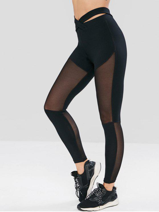 2018 Criss Cross Mesh Insert Sport Leggings In BLACK M