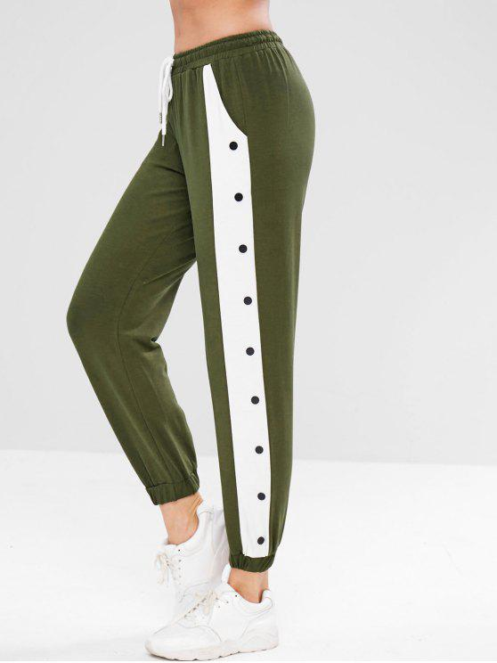 women's Contrast Jogger Sports Pants - ARMY GREEN M