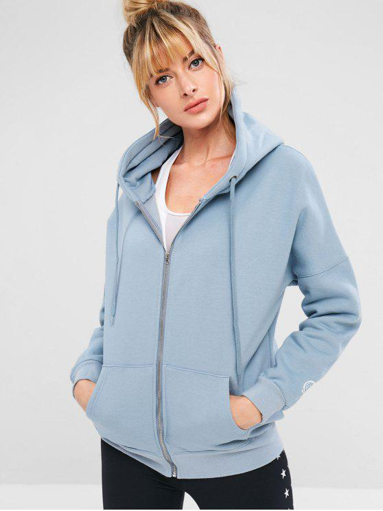 latest Zip Up Sports Tunic Hoodie - BABY BLUE S