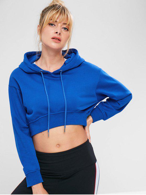 unique Sports Crop Drop Shoulder Hoodie - BLUE L
