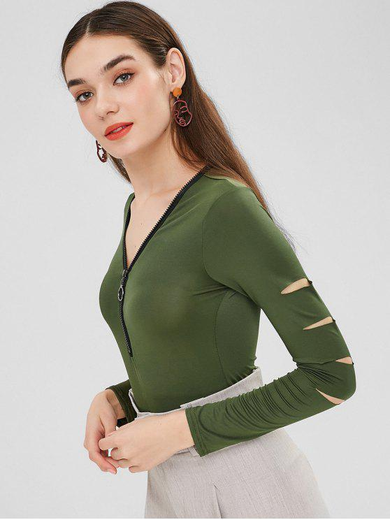 womens Half-zip Ripped Long Sleeve Bodysuit - HAZEL GREEN XL