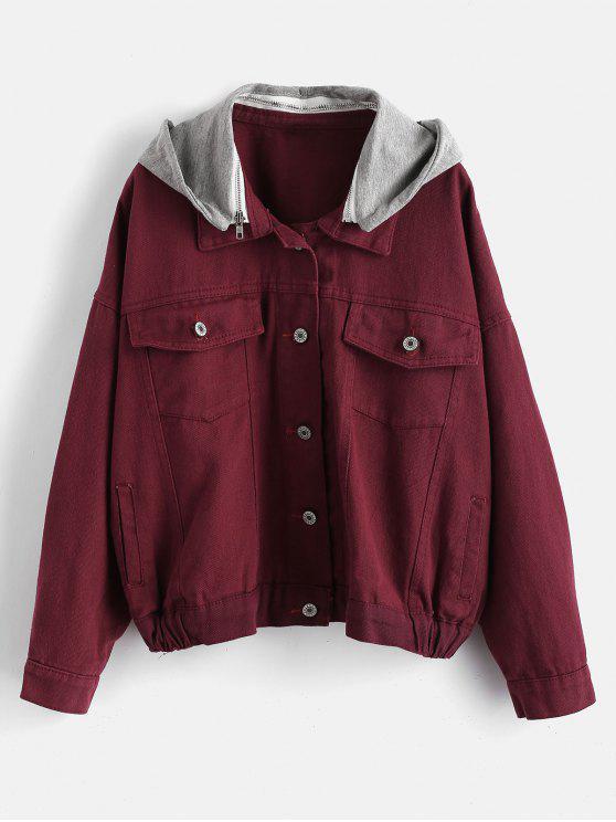 hot Hooded Denim Jacket - VELVET MAROON S