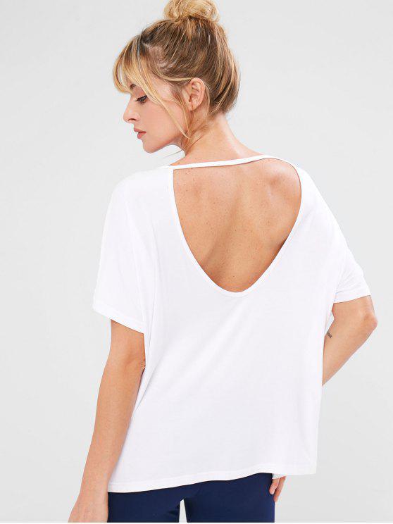 T-shirt de Course Découpé Surdimensionné - Blanc L