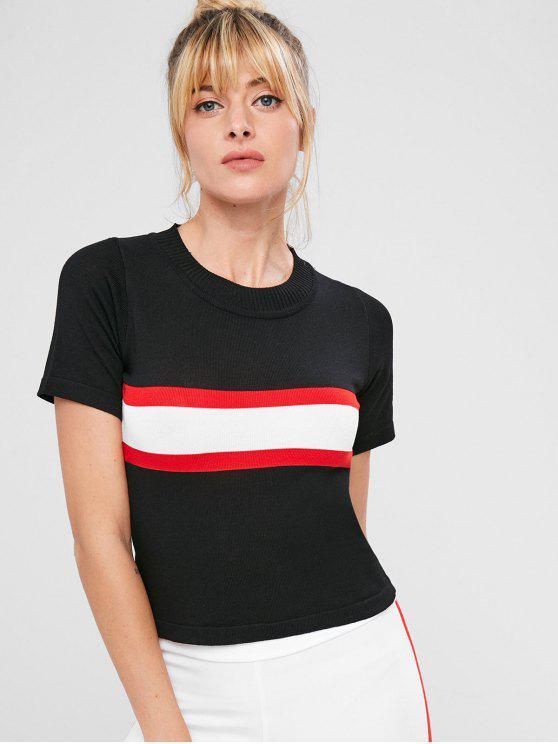 T-Shirt Sportiva In Maglia A Righe A Contrasto - Nero Taglia unica