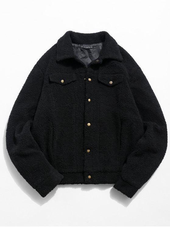 outfits ZAFUL Snap Button Pocket Fluffy Jacket - BLACK M