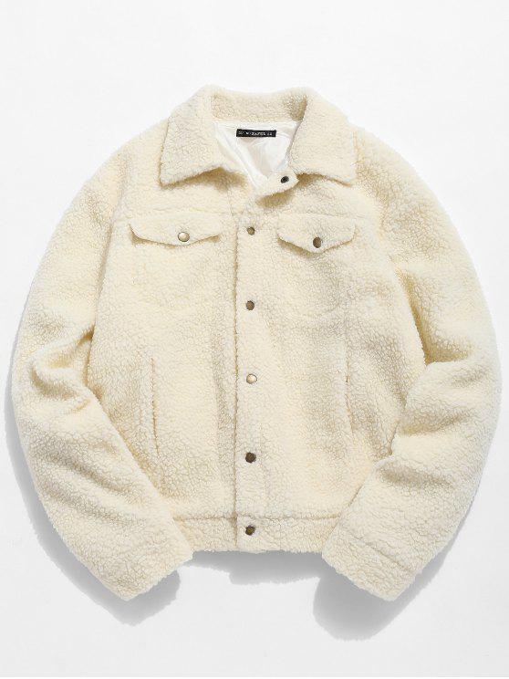 chic ZAFUL Snap Button Pocket Fluffy Jacket - APRICOT L