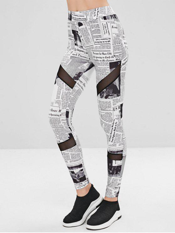 ladies Mesh Panel Newspaper Leggings - WHITE S