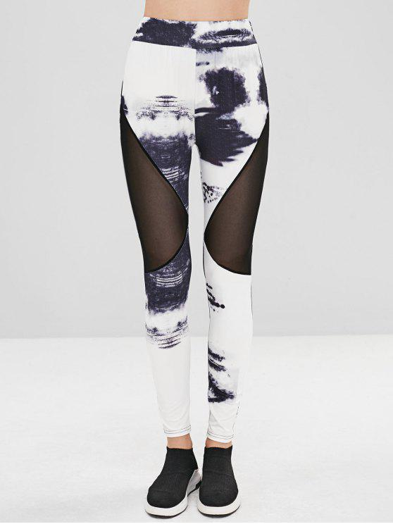 best Mesh Panel Ink Print Leggings - MULTI S