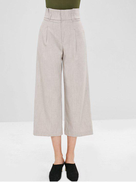 Hook High Waisted Wide Leg Pants   Light Khaki L by Zaful