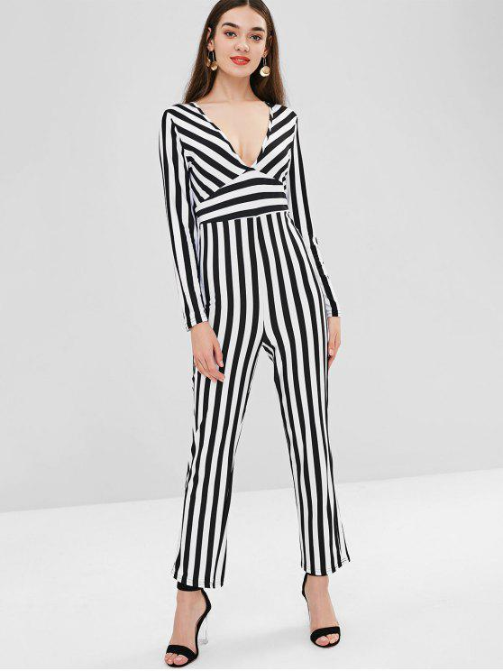 outfits Plunge Striped Jumpsuit - MULTI S