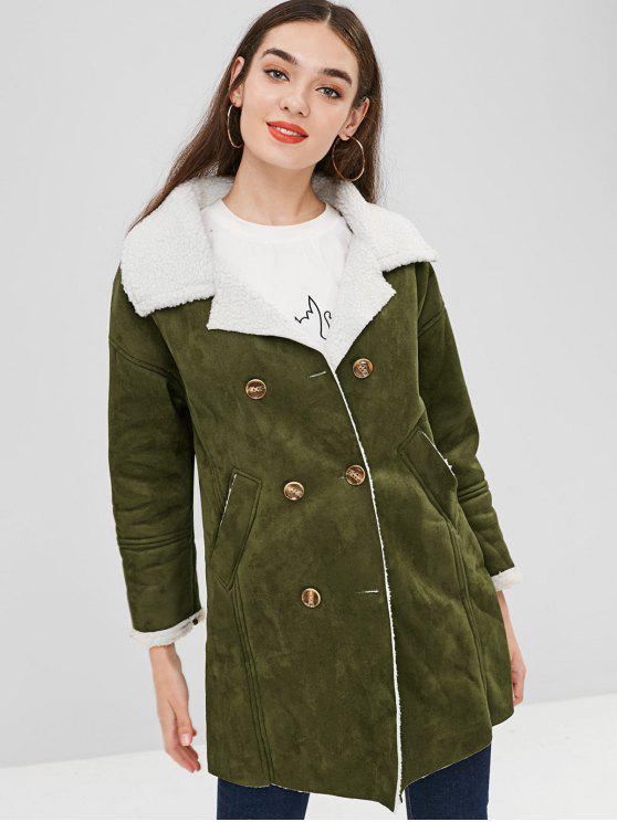 chic Pockets Double Breasted Sheepskin Coat - ARMY GREEN XL