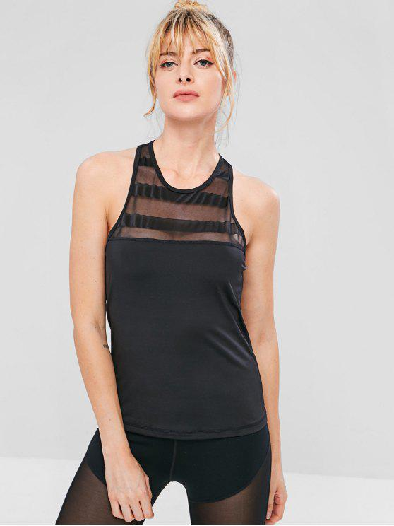 affordable Racerback Mesh Insert Tank Top - BLACK M