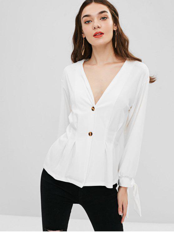 women's Tie Cuffs V Neck Jacket - WHITE XL