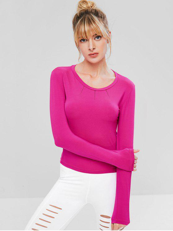 best Ripped Long Sleeve Gym T-shirt - HOT PINK L