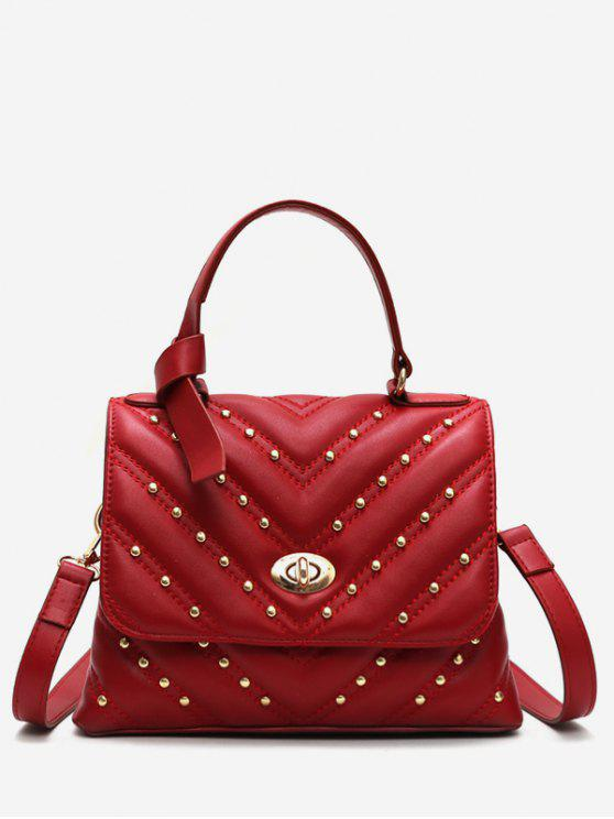 affordable V Pattern Rivet Tote Bag - RED