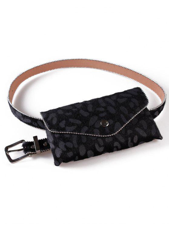 outfits Leopard Printed Fanny Pack Belt Bag - BLACK