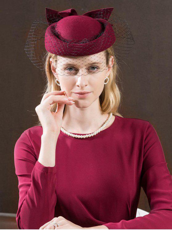 outfit Bowknot Mesh Tea Party Beret - RED WINE