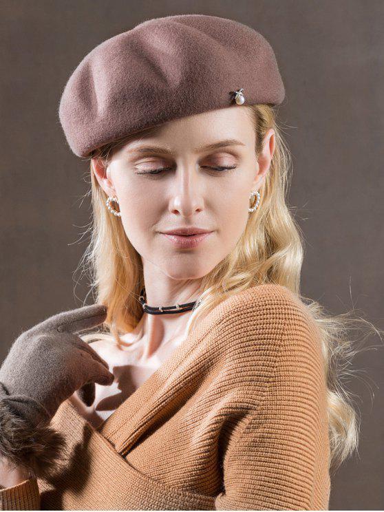 trendy Solid Color Faux Pearl British Hat - VIOLA PURPLE