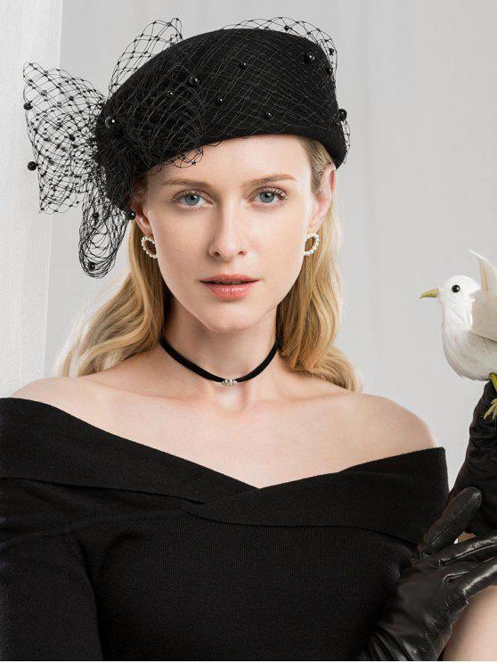 fashion Vintage Mesh Bowknot Woolen Beret - BLACK