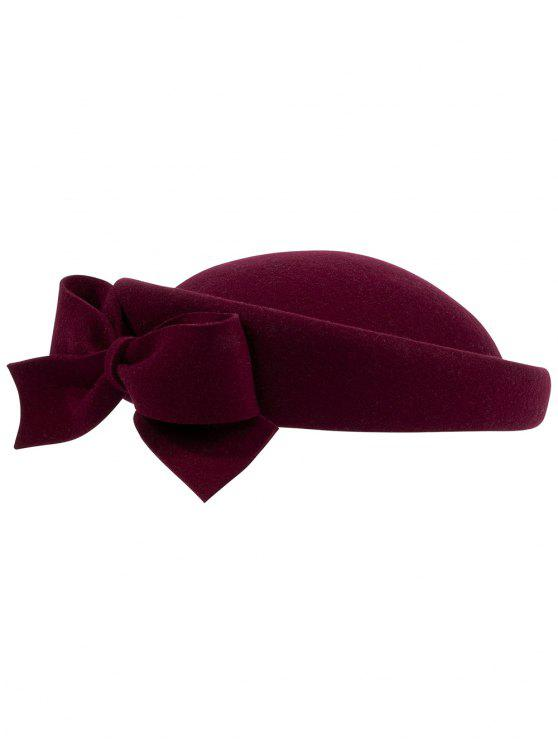 unique Bowknot Side Woolen Elegant Hat - FIREBRICK