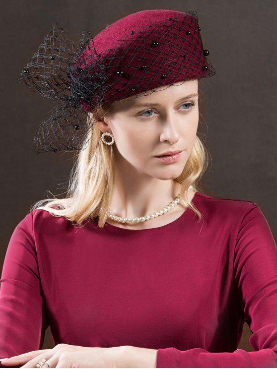 sale Vintage Mesh Bowknot Woolen Beret - RED WINE