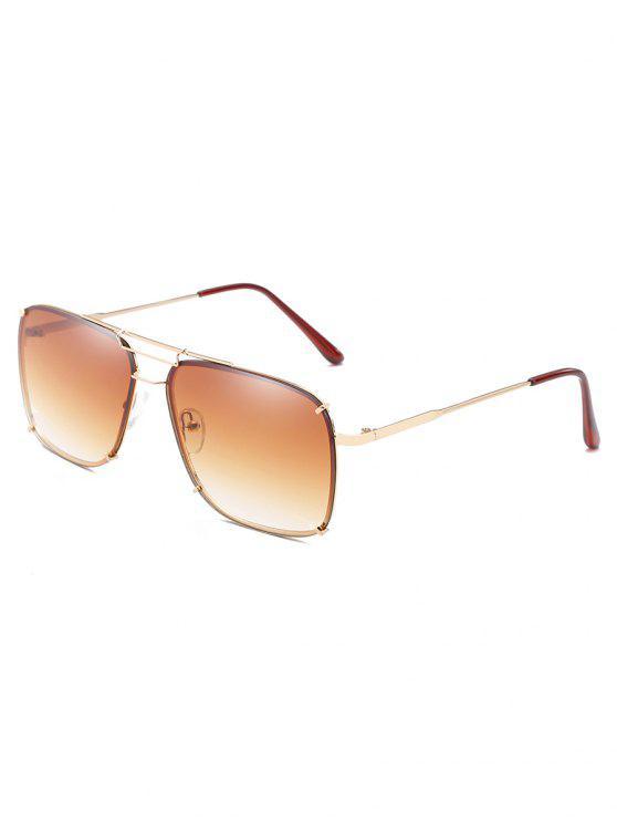 chic Crossbar Metal Frame Oversized Sunglasses - TAN