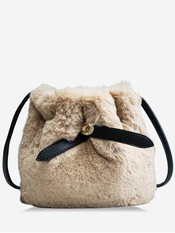 latest Bucket Faux Fur Crossbody Bag - KHAKI