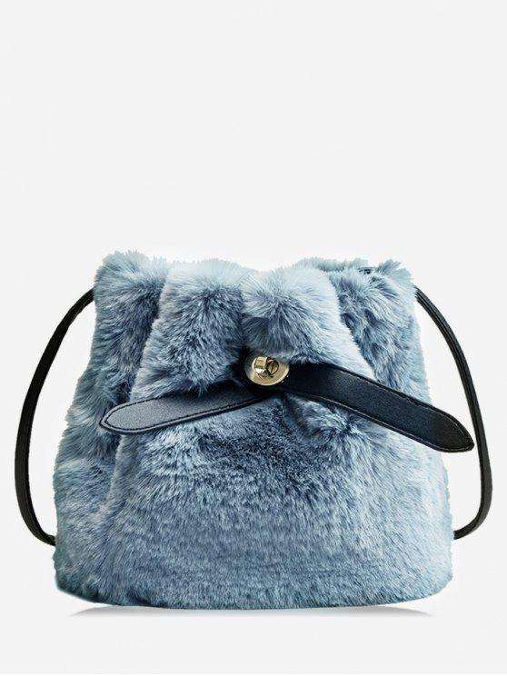fancy Bucket Faux Fur Crossbody Bag - BLUE GRAY