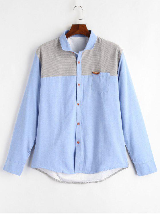 Camicia Di Lana A Blocchi Di Colore - Blu Cielo  XL