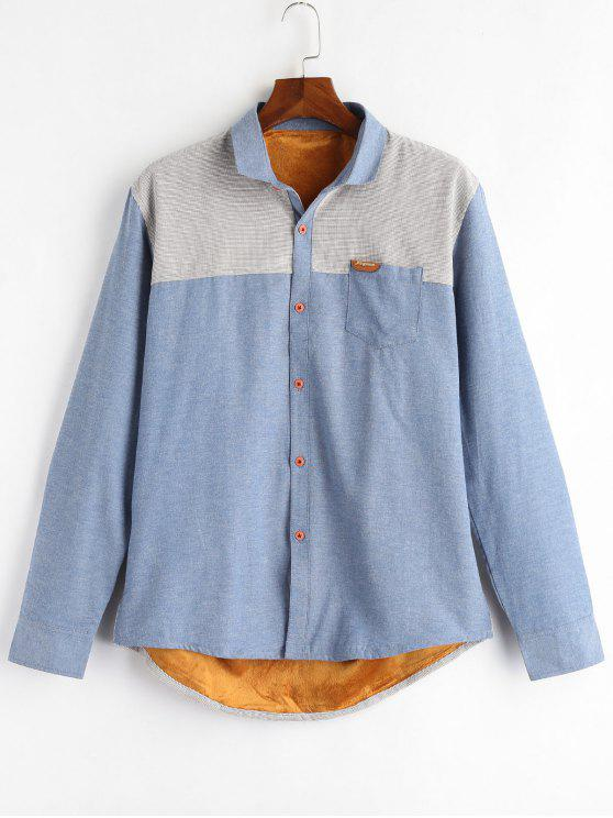 buy Color Block Patch Fleece Shirt - DENIM BLUE XL