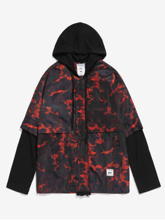 shop Camo False Two Piece Jacket - RED WINE 2XL