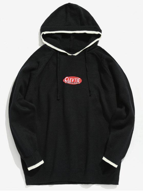 Maglione Di Applicazioni Con Cappuccio - Nero XL