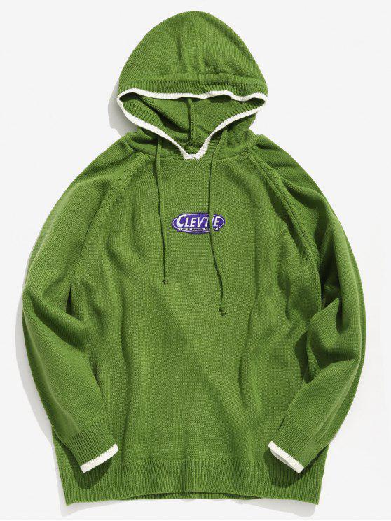 Maglione Di Applicazioni Con Cappuccio - Giallo Verde XL