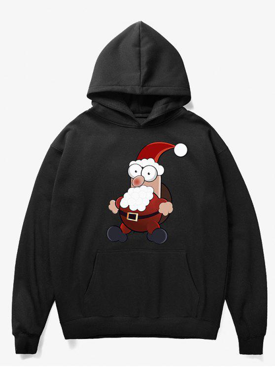 womens Cartoon Santa Claus Pullover Fleece Hoodie - BLACK XL