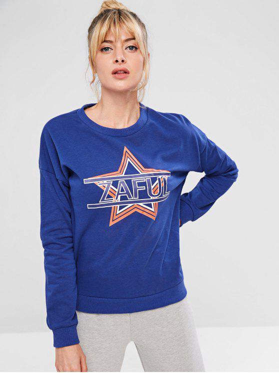 unique ZAFUL Star Drop Shoulder Sweatshirt - BLUE L
