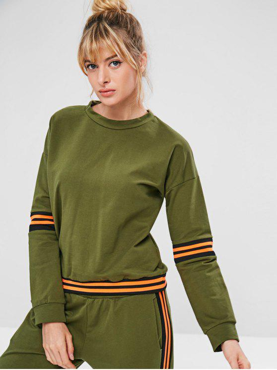 womens ZAFUL Drop Shoulder Striped Sweatshirt - ARMY GREEN M