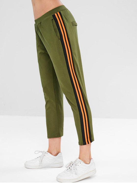 lady ZAFUL Striped Ninth Pants - ARMY GREEN S