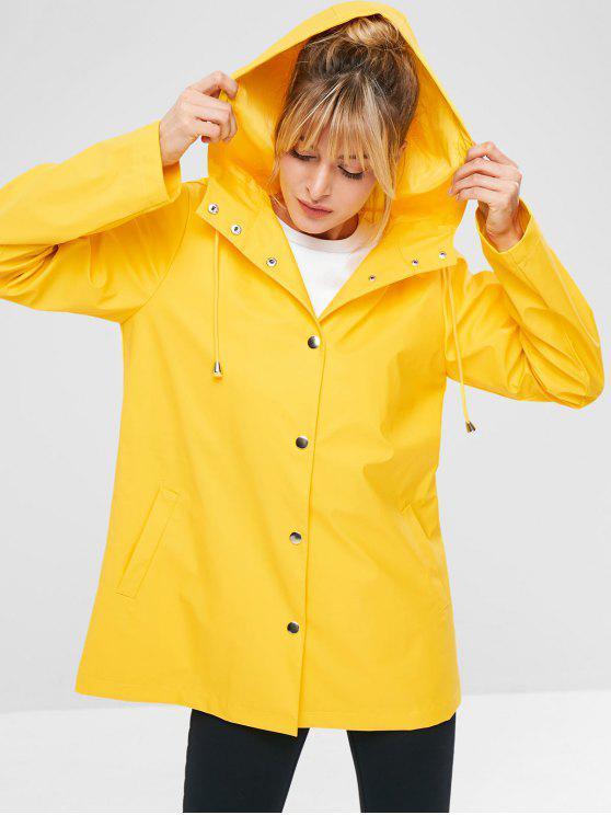 ZAFUL Snap Button Hooded Raincoat - Yellow M