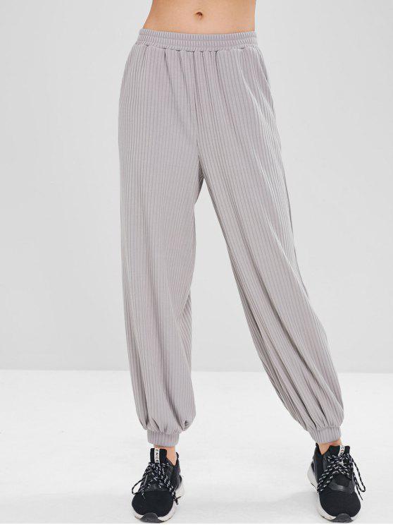 latest ZAFUL High Waist Ribbed Baggy Pants - GRAY S