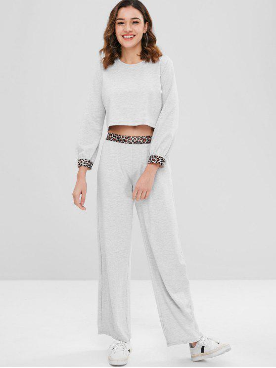 sale ZAFUL Leopard Trim Crop Top and Pants Set - LIGHT GRAY M
