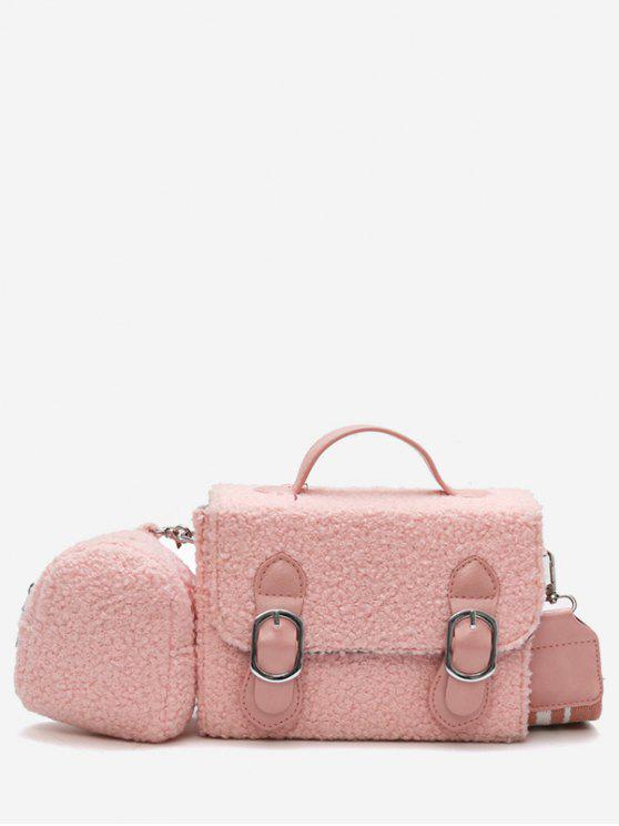 latest Bucket Fluffy 2 Pieces Crossbody Bag Set - PINK