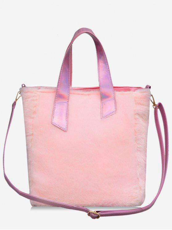 chic Large Capacity Faux Fur Tote Bag - LIGHT PINK